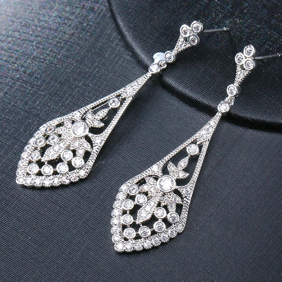 Art Deco Style Silver Filigree Bridal Earrings SASHA