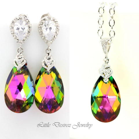 Green Pink Earrings Set Swarovski Vitrail Medium VM-32