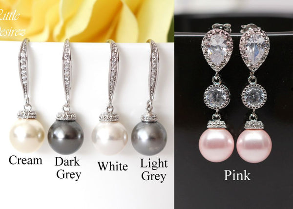 Cream Pearl Earrings Pearl Bridesmaid Gift P44H