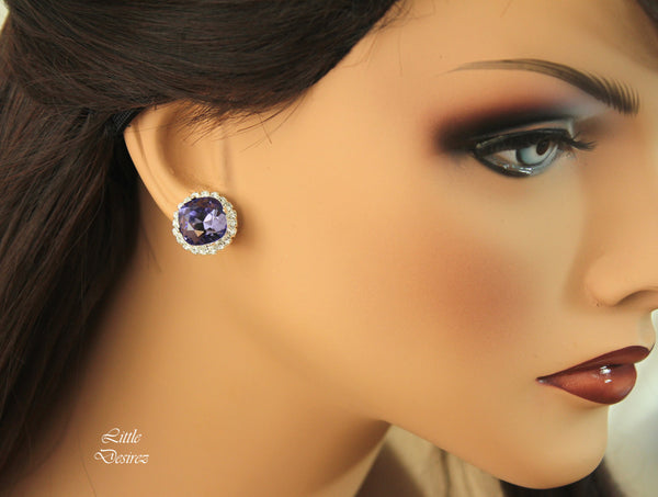 Purple Crystal Earrings Halo Earrings TZ-50