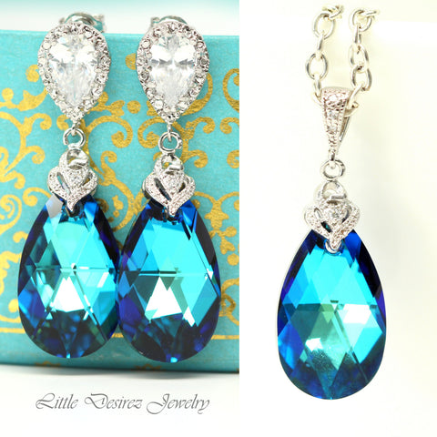 Blue Jewelry Set Necklace & Earrings BB-32
