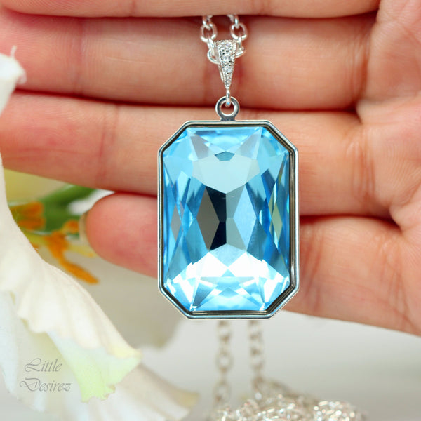 Blue Necklace Large Pendant AQ-41