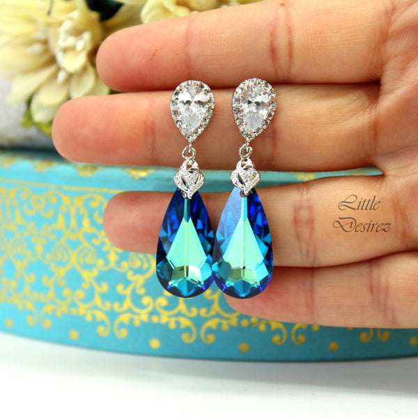 Swarovski Bermuda Blue Earrings Blue Green Earrings BB-33