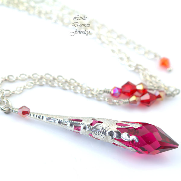 Raspberry Necklace Swarovski Ruby Pink RP-36