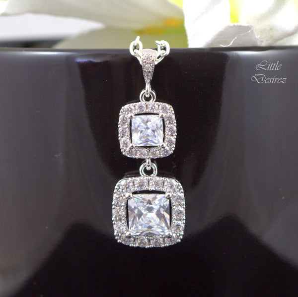 Cubic Zirconia Earrings Square Cut