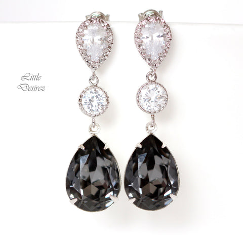 Swarovski Silver Night Earrings Smoky Grey Earrings SN-31