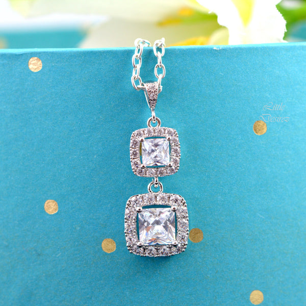 Cubic Zirconia Necklace Square Cut