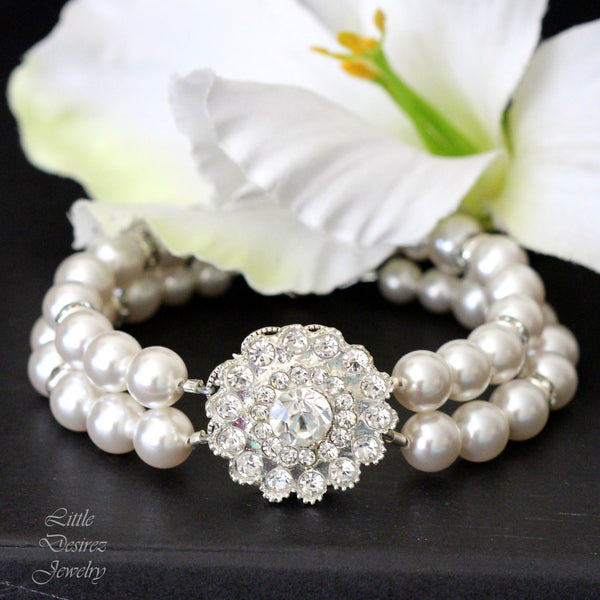 Pearl and Crystal Flower Bracelet CELINA
