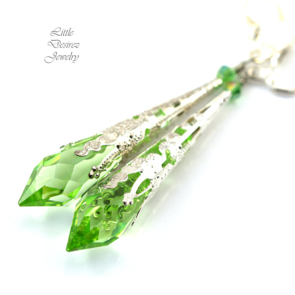 Long Green Dangle Earrings PD-36