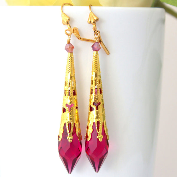 Long Dangle Earrings Filigree Victorian Gold Ruby RP-36