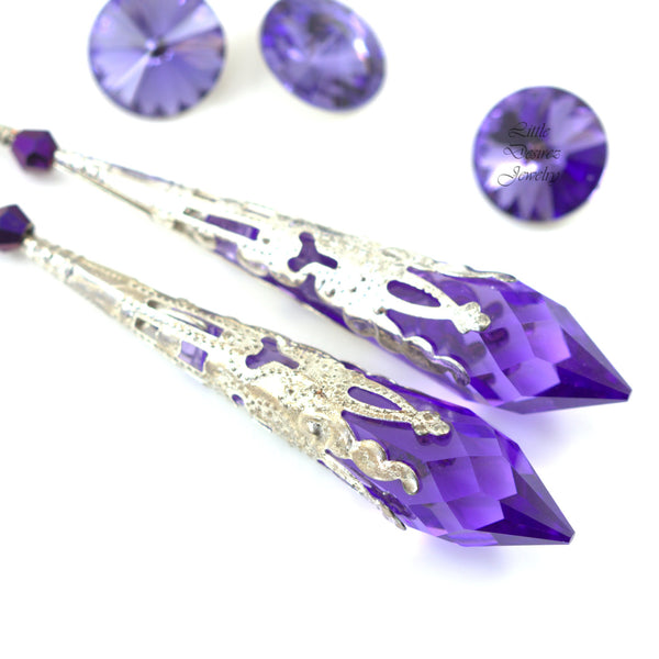 Amethyst Purple Chandelier Earrings TZ-36