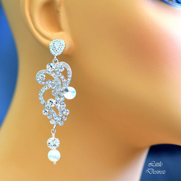 Wedding Bridal Rhinestone Earrings KATIE