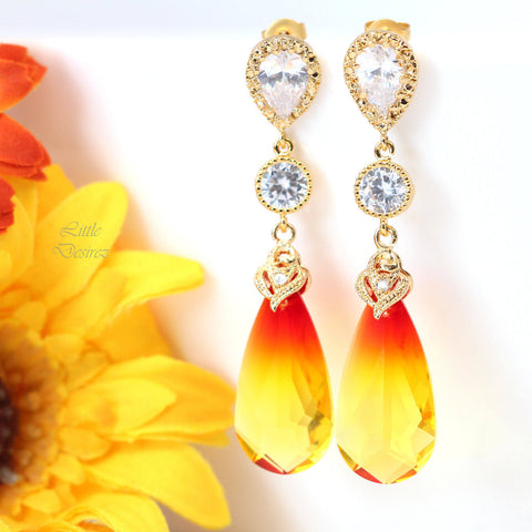 Yellow and Red Earrings Swarovski Fire Opal FO-33