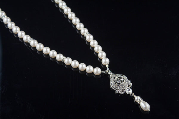 Vintage Bridal Jewelry Pearl Necklace Strand Necklace Swarovski Pearls ARIANA