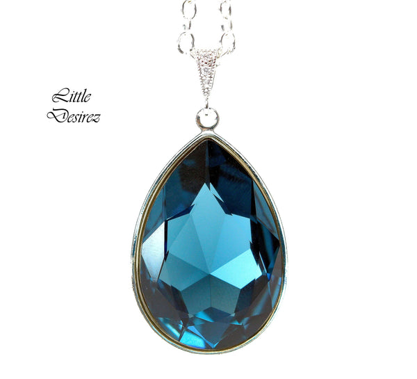 Teardrop Pendant Dark Blue Jewelry Layering Necklace MO-42