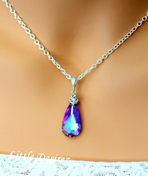 Purple Necklace Swarovski Vitrail Light Crystal VL-33