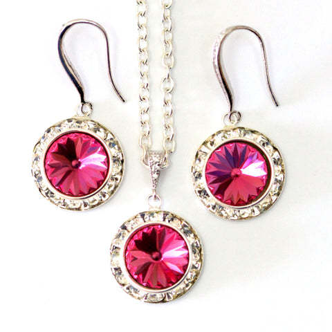 Swarovski Pink Jewelry Set Bridesmaid Jewelry RP-34