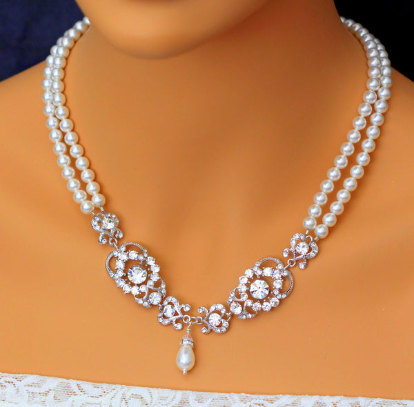 Pearl and Crystal Multistrand Statement Necklace AMENDINE