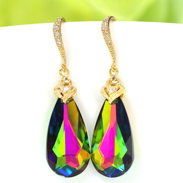 Gold Dangle Earrings Colorful Earrings VM-33