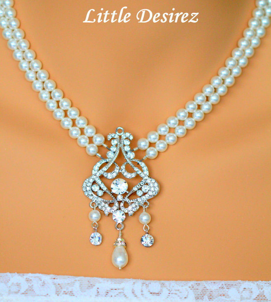 Pearl and Crystal Bridal Necklace ISABELLA