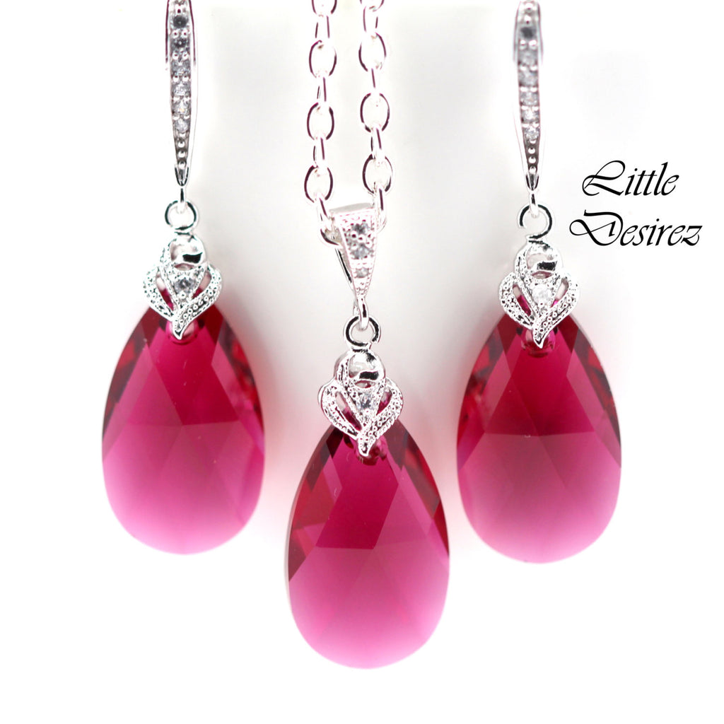 Bridesmaid Jewelry Set Pink Crystal RP-32
