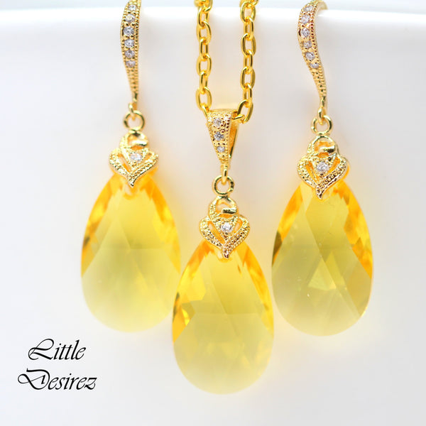 Yellow and Gold Jewelry Set Swarovski Yellow LT-32