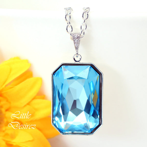 Swarovski Crystal Necklace Emerald Cut AQ-41