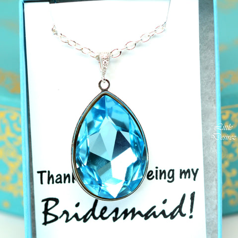 Teardrop Pendant Blue Wedding Jewelry Large Pendant AQ-42