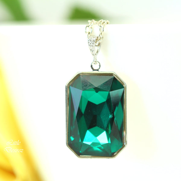Emerald Necklace Large Statement Pendant EM-41