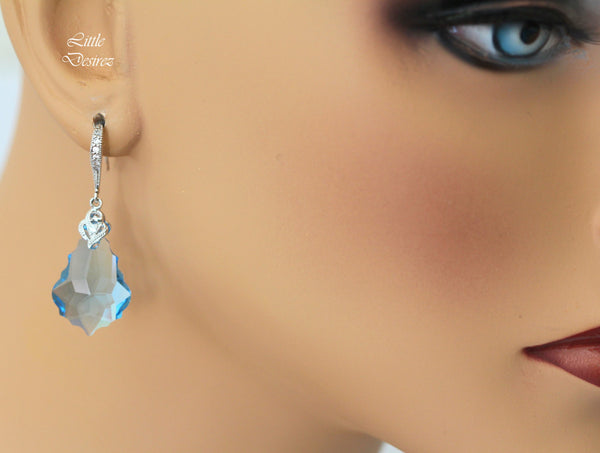 Light Blue Earrings Swarovski Dangle AQ-30