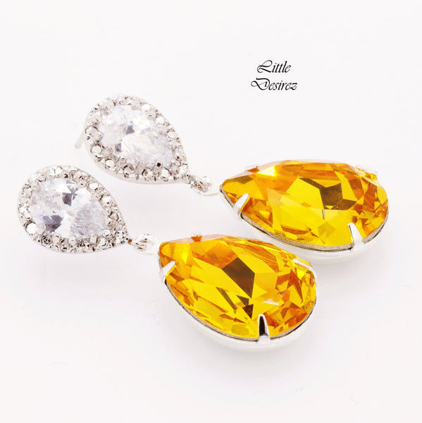 Bright Yellow Crystal Drop Earrings LT-31