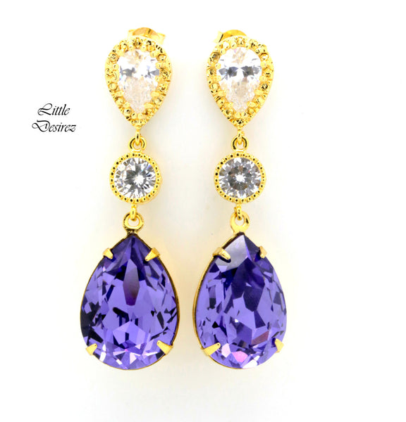 Long Drop Earrings Cubic Zirconia Luxury Earrings Swarovski Crystal Tanzanite TZ-31