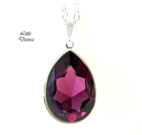 Amethyst Necklace Swarovski Large Pendant AM-42