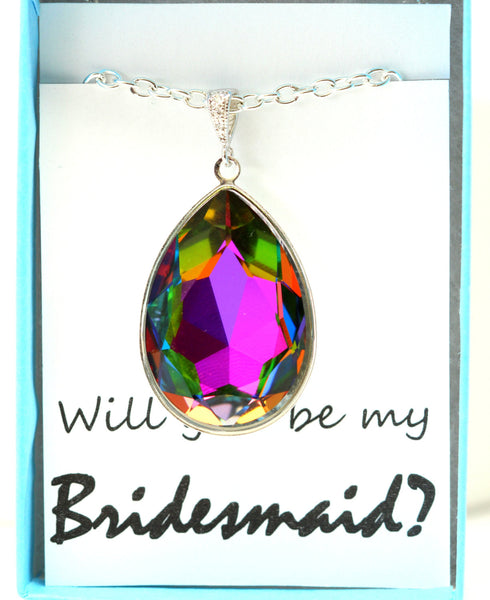 Colorful Statement Necklace Swarovski Teardrop VM-42