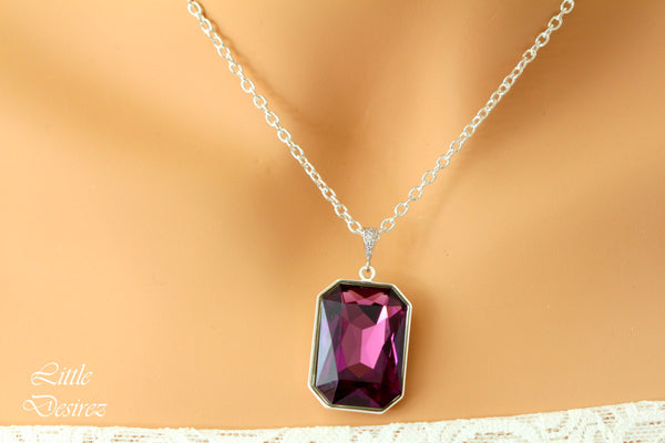 Purple Amethyst Necklace Layering Necklace AM-41