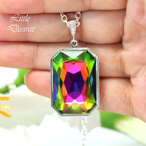 Colorful Necklace Swarovski Crystal Statement Necklace VM-41