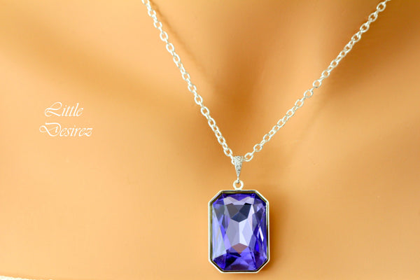 Purple Necklace Swarovski Tanzanite Necklace TZ-41