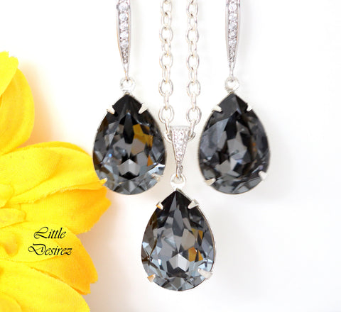 Grey Earrings and Necklace Set SN-31