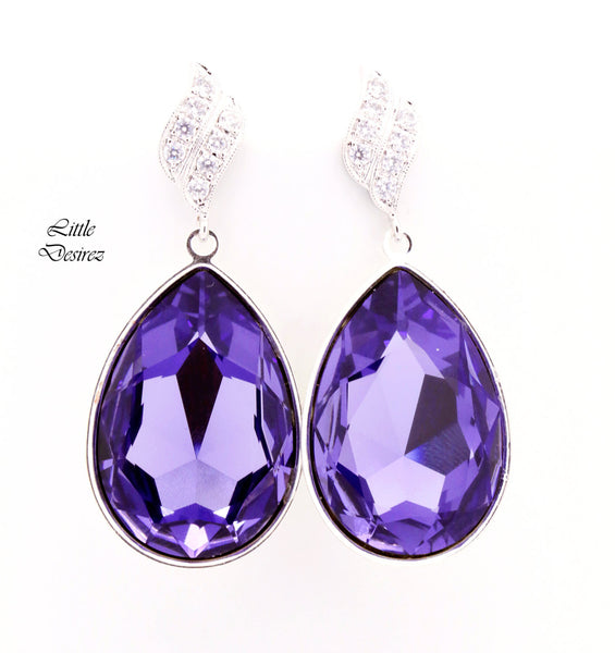 Large Purple Teardrop Earrings TZ-42