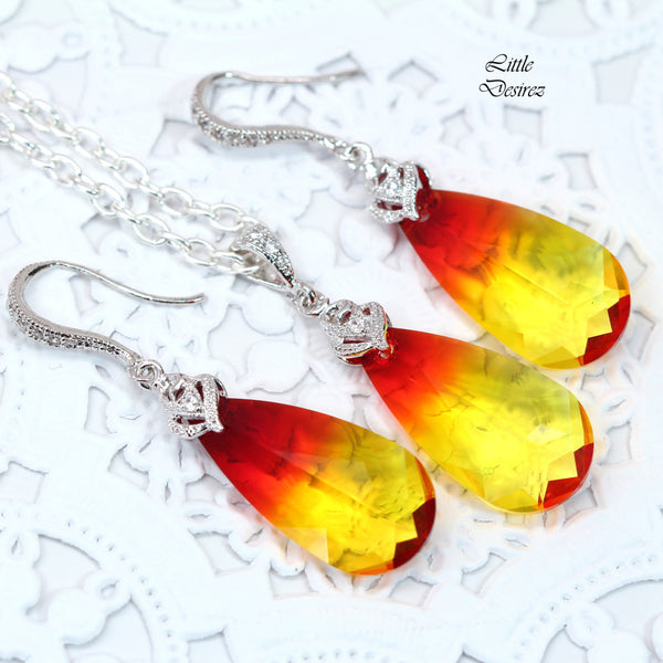 Yellow Earrings Crystal Earrings FO-33