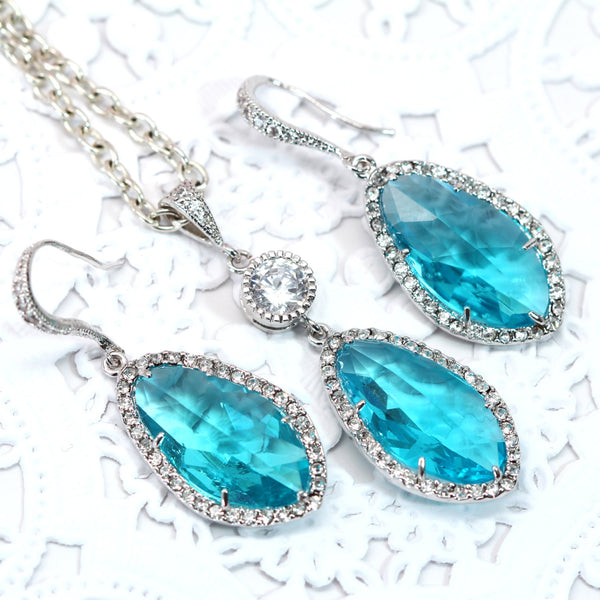 Blue Jewelry Set Bridal Jewelry Wedding Jewelry TB-40
