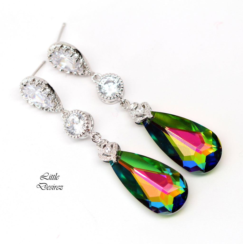 Pink Green Dangle Earrings VM-33
