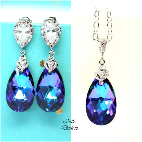 Bridesmaid Jewelry Set Swarovski Heliotrope HE-32