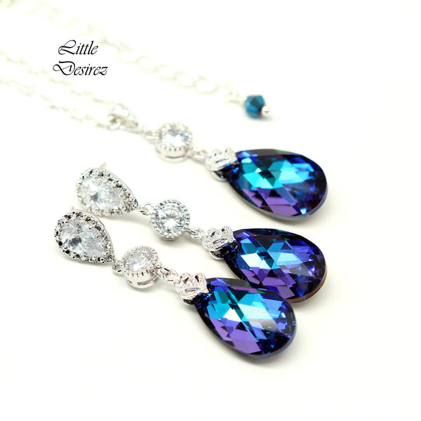 Purple Earrings and Necklace Set HE-32