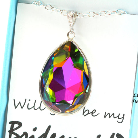 Crystal Teardrop Statement Necklace Swarovski Multicolor VM-42