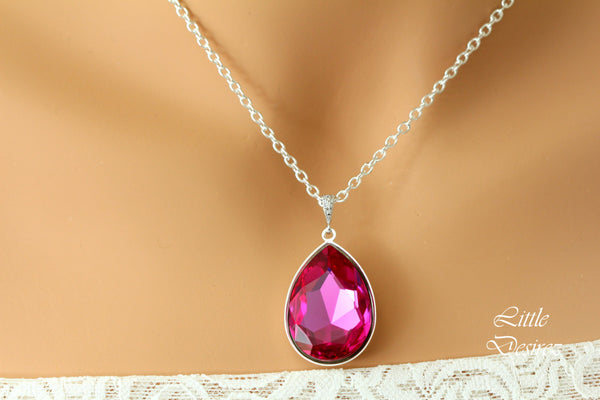Hot Pink Necklace Swarovski Crystal RP-42