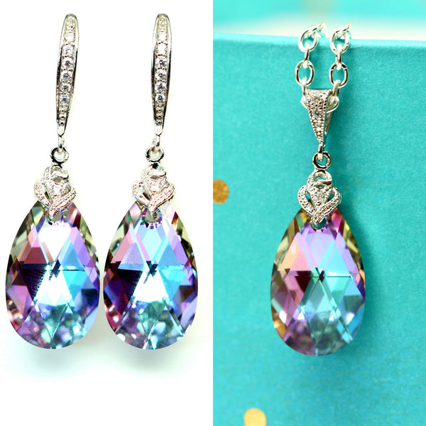Purple and Pink Jewelry Set Swarovski Vitrail Light VL-32