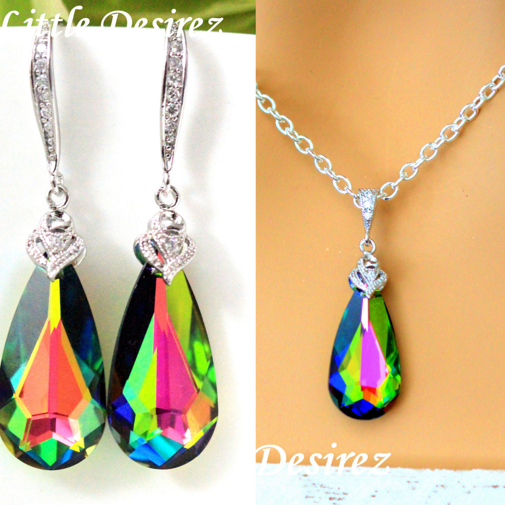 Pink and Green Earrings Set Swarovski Vitrail Medium VM-33