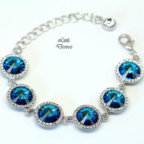 Blue Bridal Bracelet Wedding Bracelet BB-34