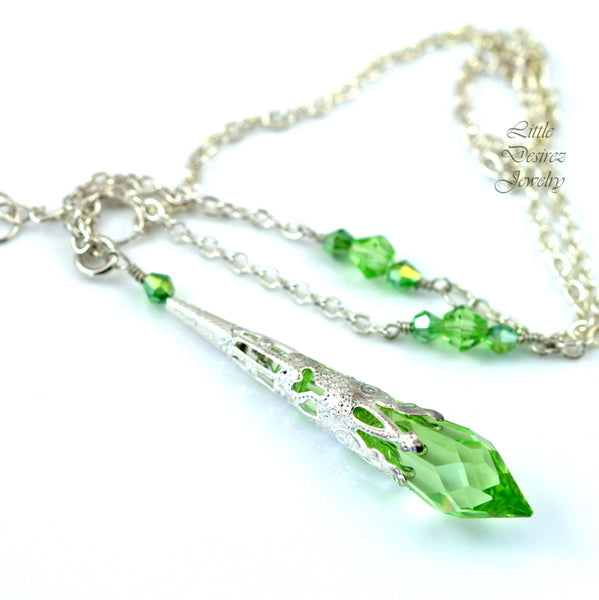 Green Necklace Swarovski Crystal PD-36